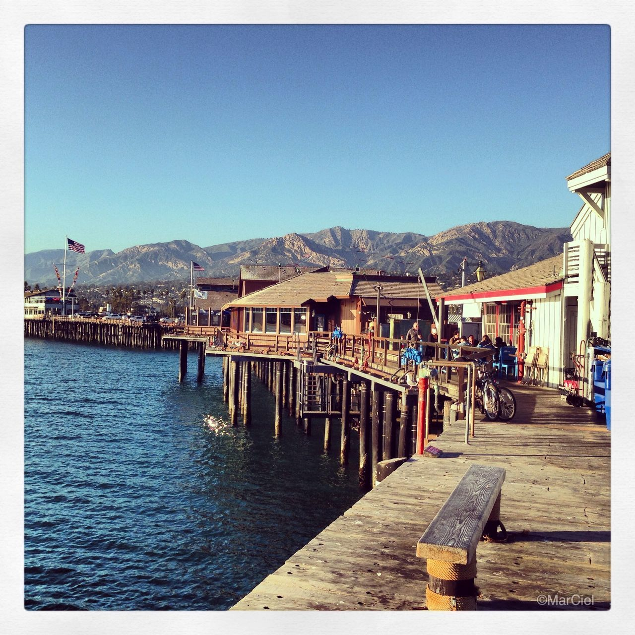 pier, mountain, clear sky, water, outdoors, lake, wood - material, day, mountain range, blue, jetty, nature, harbor, built structure, architecture, no people, beauty in nature, sky