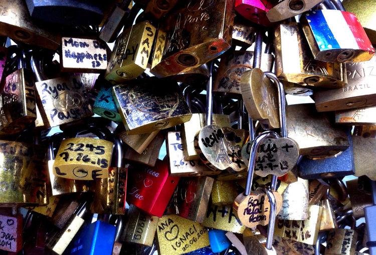 Love Paris Romance Abundance Backgrounds Bridge Choice Close-up Day Emotion Full Frame Large Group Of Objects Lock Love Love Lock Metal No People Outdoors Padlock Positive Emotion Protection Safety Security Text Variation