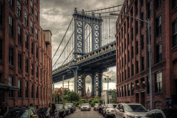 Manhattan Bridge, NYC. Cloudy day. Cityscape Cloudy NY NYC New York New York City Travel USA Architecture Bridge Bridge - Man Made Structure Car City Connection Day Engineering Iconic Buildings Manhattan Bridge Outdoors Street Suspension Bridge Transportation Travel Destinations Urban