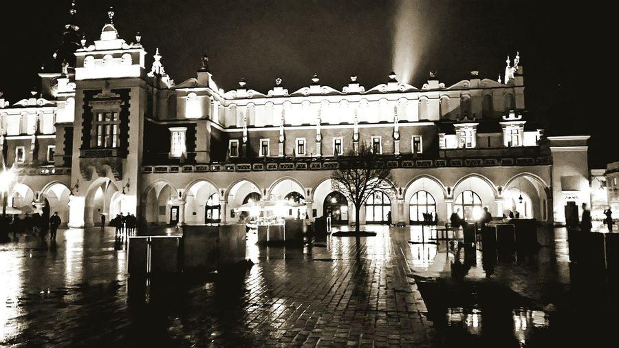 Facade of building at night