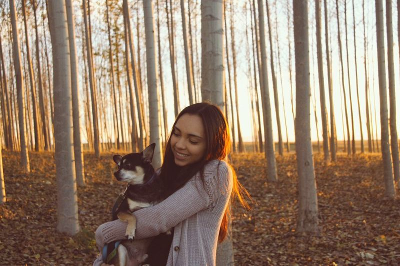 Pets Dog Forest One Animal Nature Domestic Animals One Person Tree Animal Themes WoodLand Mammal Autumn Young Adult Real People Sunset Young Women Tree Trunk Smiling Outdoors Lifestyles