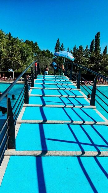 Broken lines Blue Pool Stairs Stairways Bridge Lines Broken Lines Shadow Geometry Swimming Pool Summer Summertime Blue Color