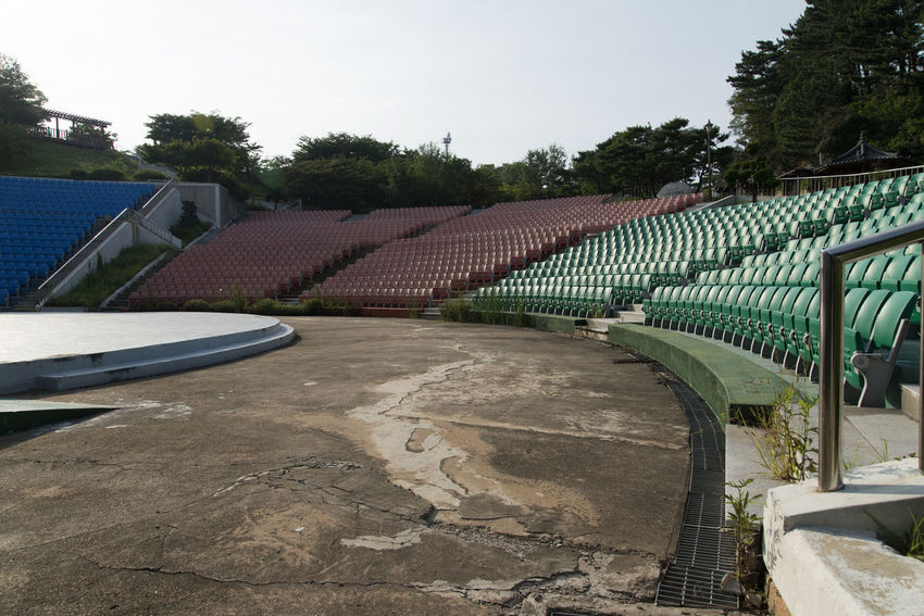 stadium of Samsa Marine Park in Yeongdeok, Gyeongbuk, South Korea Lines Stadium Architecture Array Built Structure Day Empty No People Outdoors Seats Sky Tree