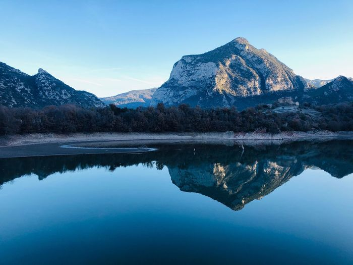Water Reflection Sky Mountain Tranquility Beauty In Nature Scenics - Nature Tranquil Scene Lake Waterfront Symmetry Mountain Range Blue Nature Idyllic Non-urban Scene Winter No People Cold Temperature Outdoors Capture Tomorrow