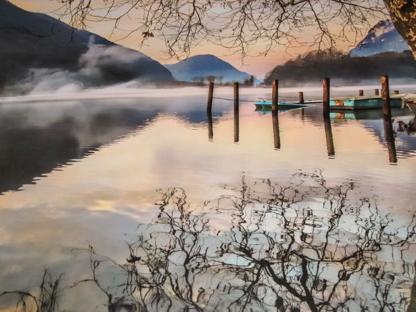 Beauty In Nature Day Foggy Laghetto Del Piano Lake Landscape Mountain Nature No People Outdoors Reflection Scenics Sky Sunrise Tranquil Scene Tranquility Tree Water Waterfront