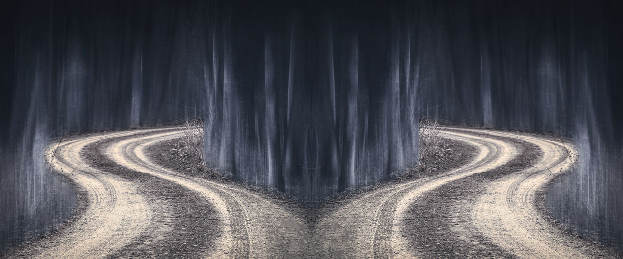 Ghost Roads Art, Drawing, Creativity ArtWork Creativity Ghost Halloween Mirrored Roads Abstract Art Arts Culture And Entertainment Creepy Curve Different Different Perspective Dirt Forest Landscape Nature Night No People Outdoors Road Street Symmetry Winding Road