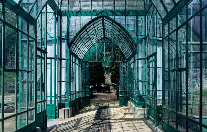 Serres De Laeken (Brussels). Architecture Building Built Structure Day Direction Empty Entrance Glass - Material Green Color Indoors  Nature No People Old Reflection The Way Forward Transparent Window Wood - Material