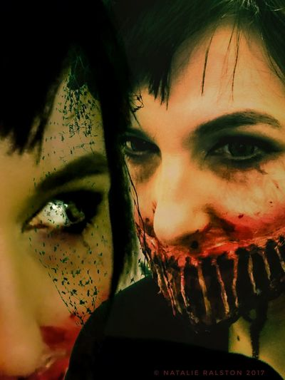 Portrait Make-up Human Face Close-up Self Portrait Experiments Two Minds Sfx Makeup Halloween Makeup Halloween 2017 Sony Xperia Photography.