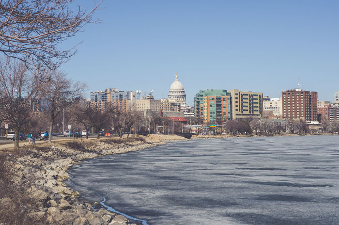 Madison Wisconsin Winter Architecture Bare Tree Building Exterior Built Structure City Cityscape Clear Sky Day Dome Nature No People Outdoors Place Of Worship Road Sky Travel Destinations Tree