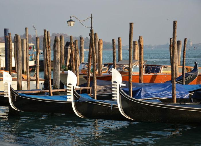 Gondolas moored by wooden post at venetian lagoon