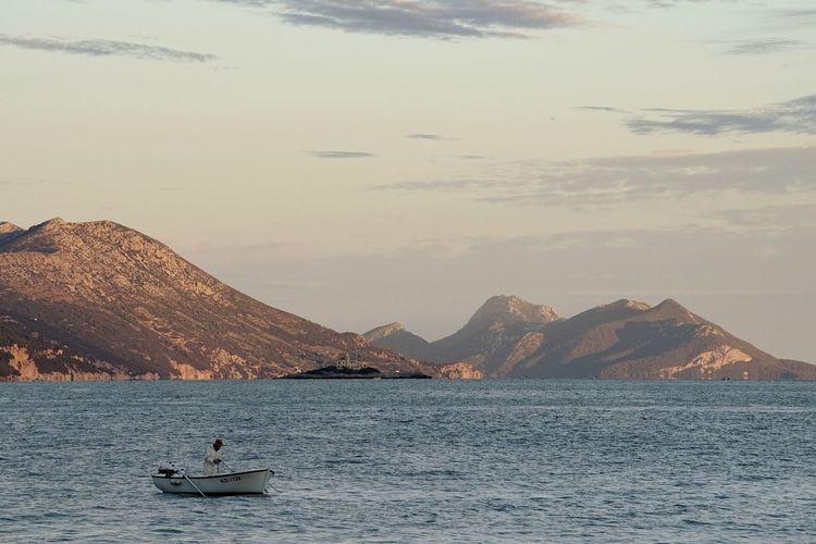 Mountain Landscape Water Outdoors Nature Travel Destinations Nautical Vessel Sunset Sea Croatia Orebic Peljesac Bildfolge Photography Boat Fishing Day