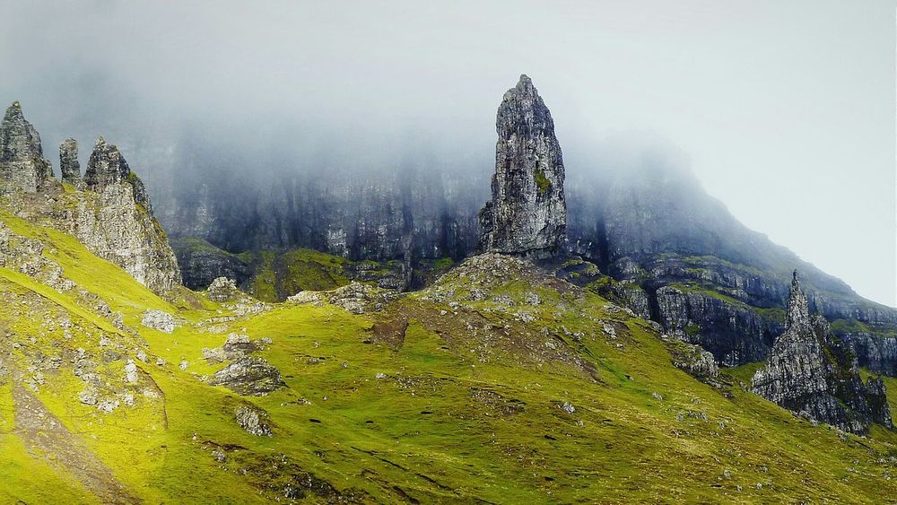 The old man of Storr, Isle of Skye, Scotland, on a foggy day (Part 2). Foggy Day Mountain Range Hiking Scottish Highlands Old Man Of Storr Showcase March Perspective Isle Of Skye IsleOfSkye Scotland The Tourist Mood Skye Backgrounds Nature Nature Photography The Old Man Of Storr Landscapes With WhiteWall