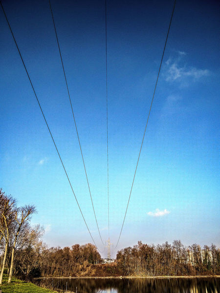Energy At The Park Threes Segrate Cables Blue Sky Genuary 2016