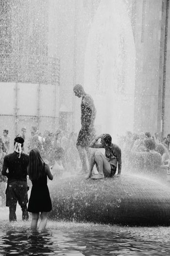 Blackandwhite Monochrome Photography Fountains Summerrain Public Places Happiness