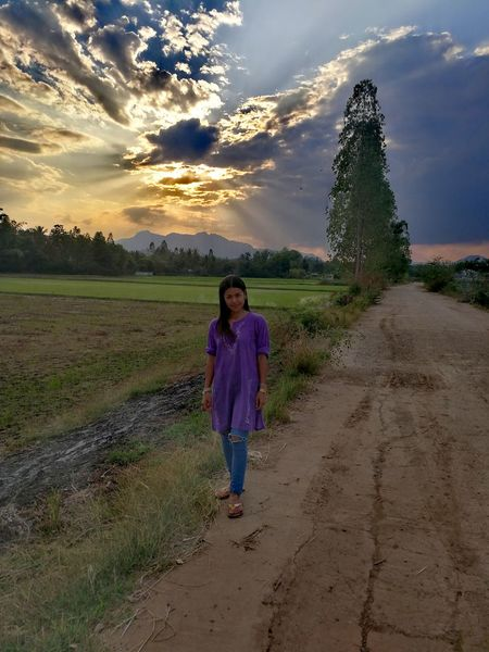 Woman One Person Standing Cloud - Sky Sunset Summer Field Full Length Sky Cereal Plant Rural Scene People Nature Agriculture Beauty In Nature Outdoors Thailand🇹🇭 2018 Day EyeEmNewHere Tranquility Beauty❤