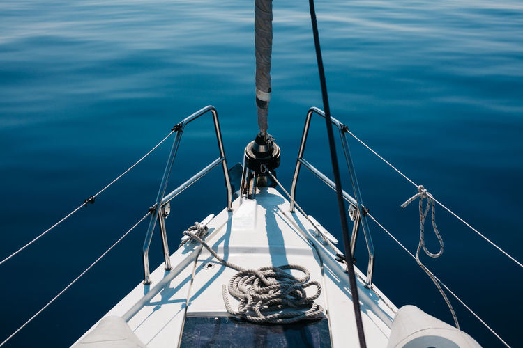 Boatlife Adriatic Sea Beauty In Nature Boat Deck Boatlife Close-up Fishing Pole High Angle View Mediterranean  Mode Of Transport Nature Nautical Vessel No People Ocean View Outdoors Railing Rope Sailboat Sailing Sailing Ship Sea Sea Life TeamCanon Transportation Water Yacht