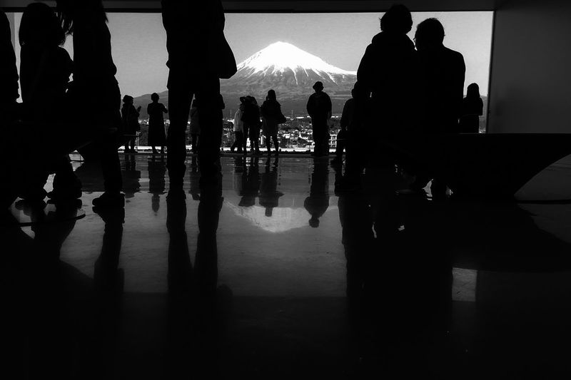 Mt.Fuji Silhouette Real People Men Women Lifestyles Standing Stories From The City Leisure Activity Large Group Of People Indoors  Day