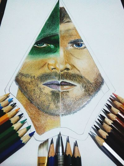 Half arrow and half oliver queen Arrow OliverQueen Greenarrow Justiceleague Dccomics OpenEdit Drawing Colouring  Facedrawing Hobby