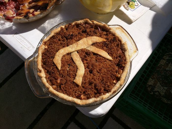 Happy Pi Day! EyeEmNewHere Pi Apple Pie Cake Close-up Day Dessert Food Food And Drink Freshness High Angle View Indulgence No People Outdoors Pi Day Pie Day Plate Ready-to-eat Serving Size Sweet Food Sweet Pie Table Temptation Unhealthy Eating