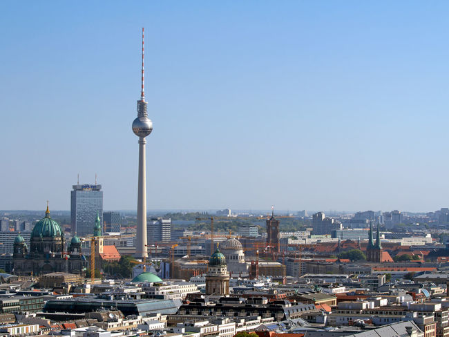 Panorama of Berlin/Germany Aerial View Aerial Views Architecture Berlin Capital Cities City City Hall City View  City Views Cityscape Cityscapes Communications Tower Dome Germany Landmark Panorama Skyscraper Skyscrapers Spire  Television Tower Tower Towers Town Hall Urban Skyline
