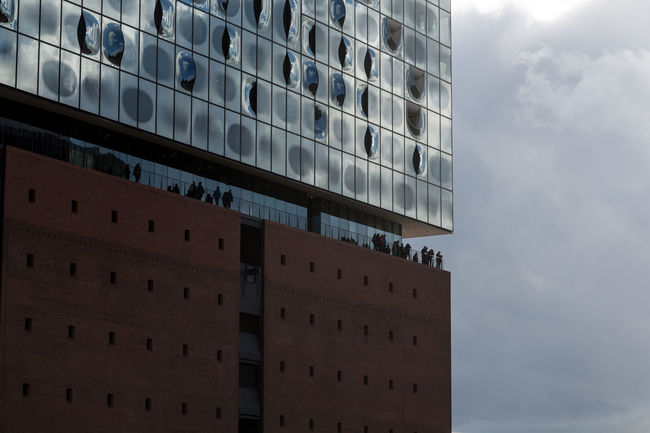 Architecture Cloudscape Elbphilharmonie Façade Hafen Hafencity Hamburg Hamburg Landmark People On Building Terraces Views