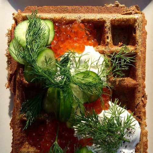 The Foodie - 2015 EyeEm Awards Buckwheat waffle topped with dollops of crème fraîche, spoonfuls of salmon roe, thin cucumber slices, and garnished with dill. Brunch Around The World