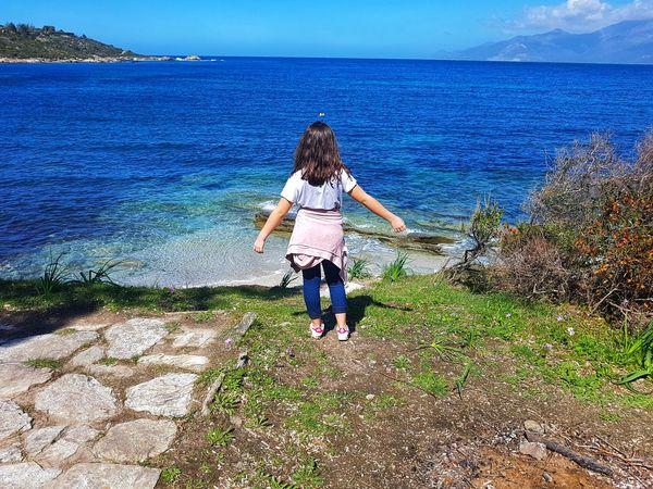 Water Sea Full Length Childhood Young Women Girls Motion Beach Rear View Women Calm