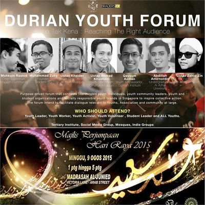 The best 9 August eva.. Majlis Perjumpaan Hari Raya with Ust Shafie and an exclusive youth forum by 7 dahsyat people in Singapore. Everything in Madrasah Aljuneid from 1pm onwards. Mustgo Gojer Letsgo Veryveryvery Awesomeness Sg50 NEMCsapu
