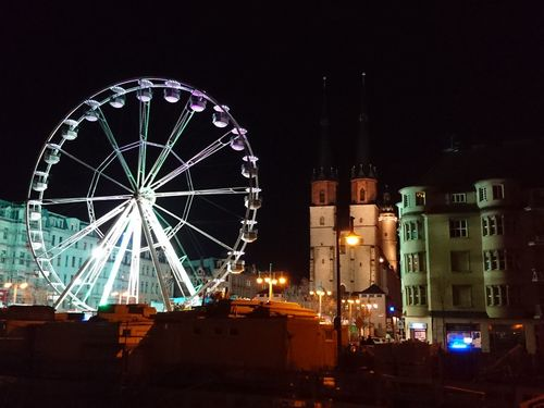 Illuminated Arts Culture And Entertainment No People Built Structure Ferris Wheel Night Building Exterior Architecture Outdoors Sky City Cityscape