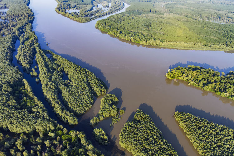 Aerial view of the danube river and its floodplain in serbia and croatia