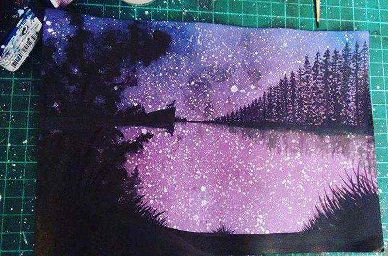 My inspiration...only you Landscape Tints Talens Black Tintas Start Beautiful Night