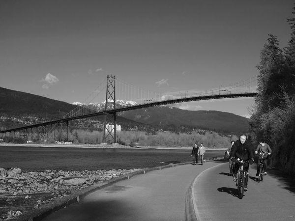 Cyclist Cycling Blackandwhite Black & White Blackandwhite Photography Streetphoto_bw Street Photography Streetphotography Bridge Mountains