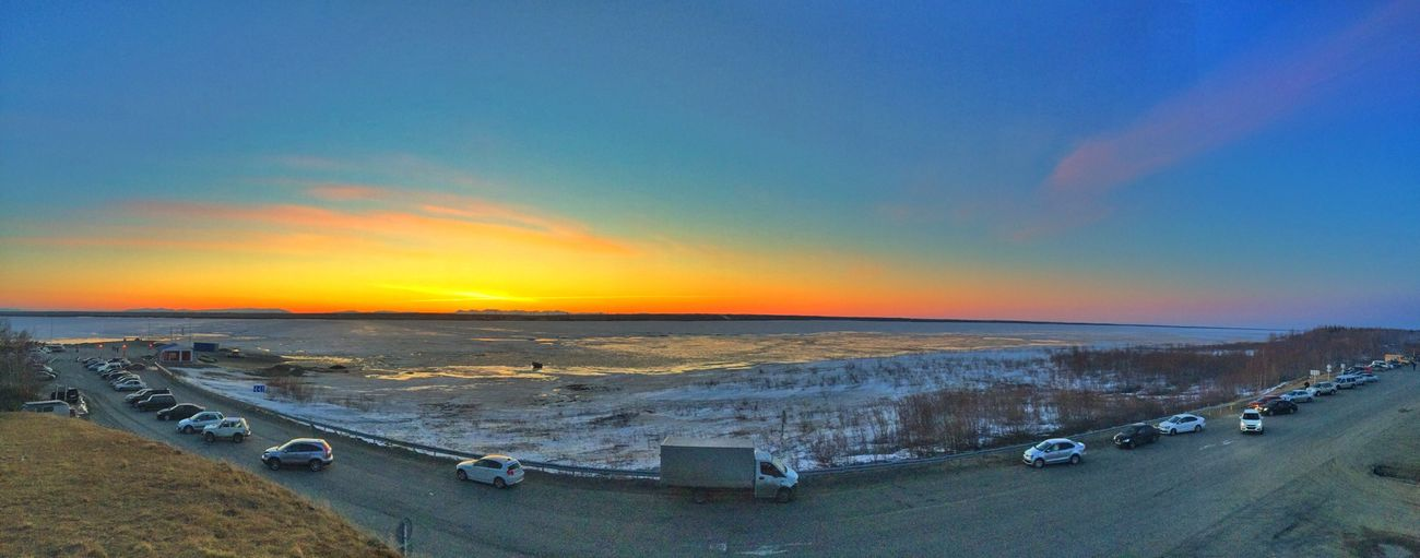 ЯМАЛ ЯНАО Салехард белые ночи Закат Панорама  сам себе фотограф Sunset Panorama