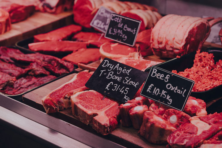 Variety of meats and meat products on sale at a food market stall in london, uk.