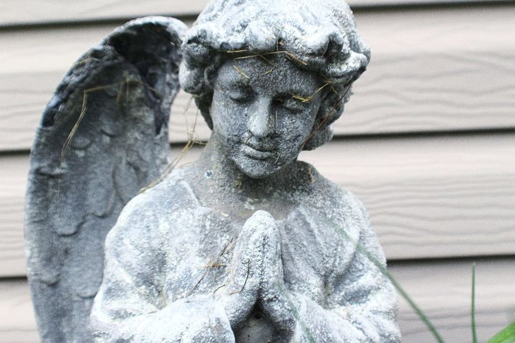 Close-Up Of Angel Statue Against Wood