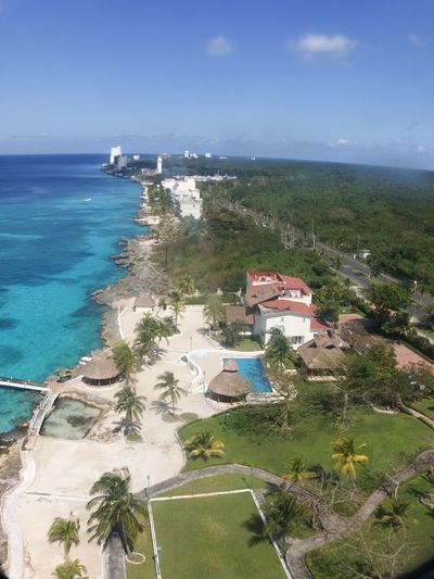 Cozumel Water Sea Sky High Angle View Nature Plant Architecture Built Structure Tree Horizon Over Water Building Exterior Day Beach Land Horizon Scenics - Nature No People Beauty In Nature Building Outdoors