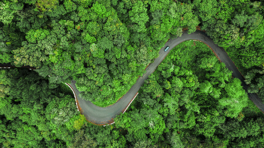 Aerial view of curve road on the high mountain in encumeada, ribeira brava, madeira island.