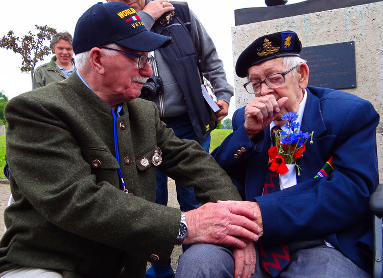 "A deeply touching lesson for life was witnessed on Hill 112 in Normandy this year (2016). When two former enemies of the battlefield connected and greeted each other with respect and love for the first time. Veteran Mr Albert Figg (Long range gunner, 43rd Wessex Division) and Veteran Herr Erich Bissoir (12th SS Panzer Division Hitlerjugend (""Hitler Youth"")). 43rd Wessex Division Emotional Photography Emotional Photos Forgiveness Hill 112 Hitler Youth Holding Normandy Normandy Landing SS Panzer Division Tears Veterans WWII Germany WWII History WWII Memorial WWII Normandy WWII Veterans"