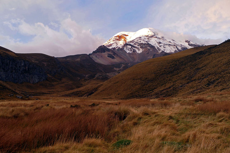 Chimborazo Ecuador - Colorful Sunset Andes Dramatic Sky Grass Hills Chimborazo Dramatic Landscape Ecuador Landscape Light And Shadow Mountain Sky South America Sunset Vulcano