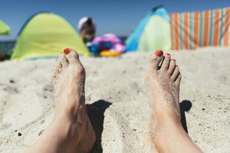 Beach View. Adult Baltic Sea Barefoot Beach Beachphotography Close-up Day Focus On Foreground Human Body Part Human Foot Human Leg Leisure Activity Lifestyles Low Section One Person Outdoors People Real People Relaxation Sand Summer Toe Toenail Vacations Women Sommergefühle