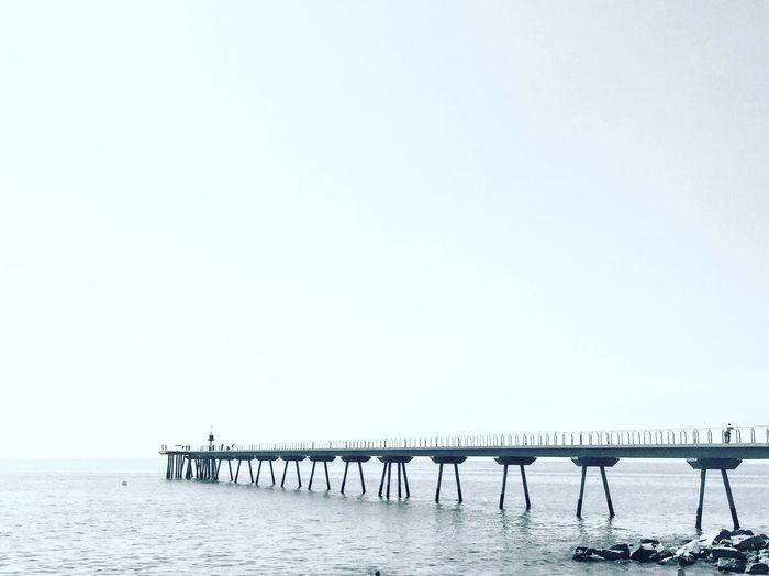 Pont Del Petroli, Badalona, Spain Black And White Photography Monocheome From My Point Of View Bridge View Bridge Copy Space Sea Horizon Over Water Horizon Nature Scenics - Nature Tranquility Tranquil Scene