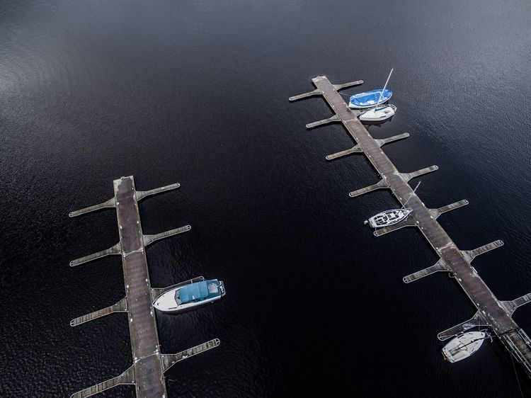 Naturelover No People Landscape Yahtclub Aerial View Boats Lithuania Water Reflections Water Dreverna Blue Wave Bluewater