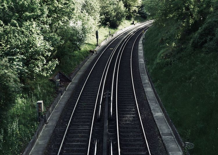 Railroad tracks Curve S Bahn Berliner Ansichten Connection Diminishing Perspective Direction Green Color Growth High Angle View Leaving Light And Shadow Mode Of Transportation Nature No People Outdoors Parallel Plant Public Transportation Rail Transportation Railroad Track The Way Forward Track Transportation Travel Tree The Street Photographer - 2018 EyeEm Awards