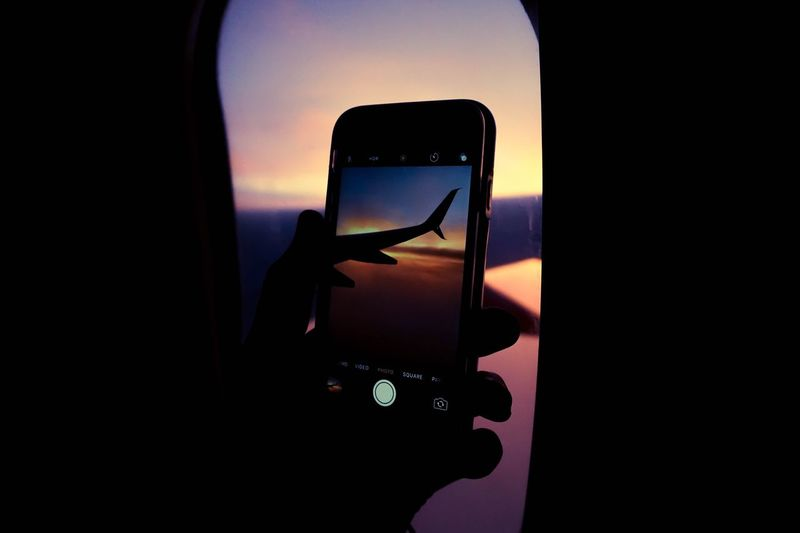 Flight Vehicle Interior Transportation Vscocam VSCO Photooftheday Sky Airplane Photography Silhouette Beauty In Nature Landscape Blue