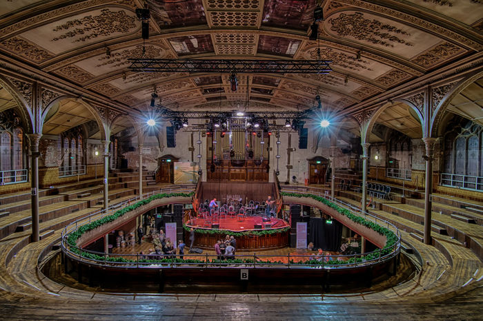 Taking centre stage. In A Circle England🇬🇧 Illuminated Long Exposure Albert Hall Manchester United Kingdom Europe Wide Angle Architecture Architecture_collection Colourful Stage Performing Arts Theatre Art Culture Ceiling Music Concert No People Water