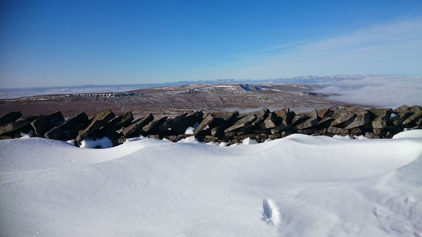 Top of Whernside Snow Yorkshire Three Peaks Whernside Mountain Peaceful Calm Dry Stone Wall Snow Covered Fells Beauty In Nature