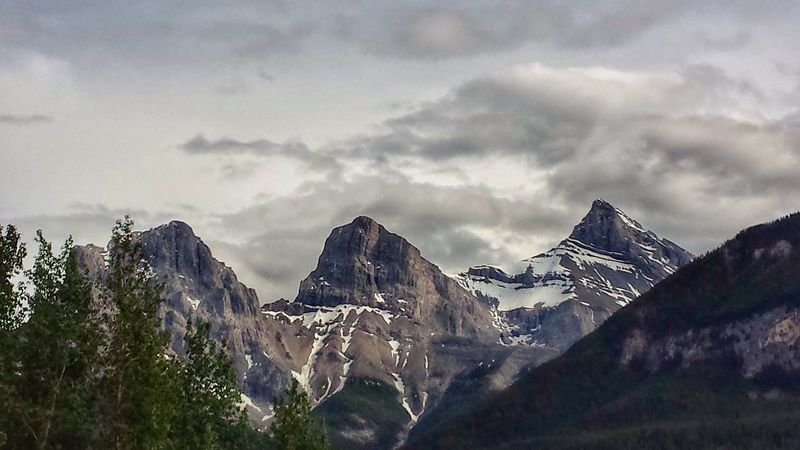 """""""Towering..."""" The Canadian Rockies - """"The Three Sisters"""" formation in Canmore, Alberta Canada EyeEm Best Shots - Nature Sky Collection Landscape_Collection Eye Em Nature Lover YYC Nature Hdr_Collection Mountains Landscape"""