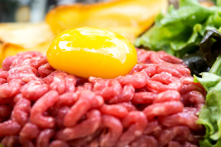 Beef Close-up Egg Yolk Food Food And Drink Freshness Healthy Eating Ingredient No People Raw Beef Ready-to-eat Red Yellow
