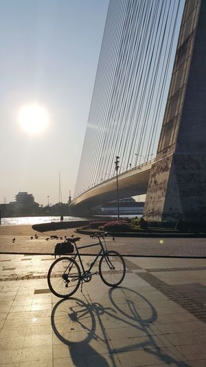 evening workout Evening Light Silhouette Photography Shadows & Lights Water Bicycle Sunlight Sky Architecture