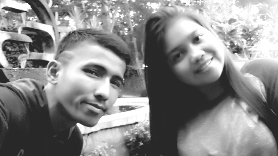 My and my young sister. Selfie time today. 📷 Photo Of The Day Selfie Time My Family My Sister Taken By Me Black And White from Central Borneo Kuala Kapuas Borneo Island INDONESIA Smile Today
